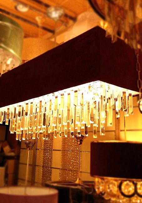 لوستر کانتری دو لامپ و سه لامپ با آویز کریستال